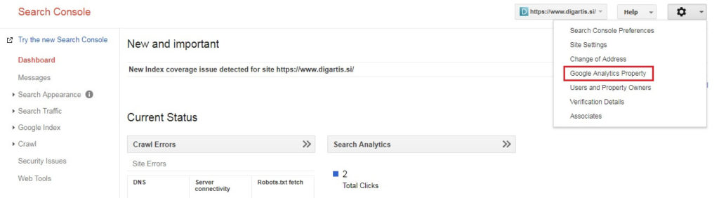 Link your Google Analytics account with the Google Search Console property