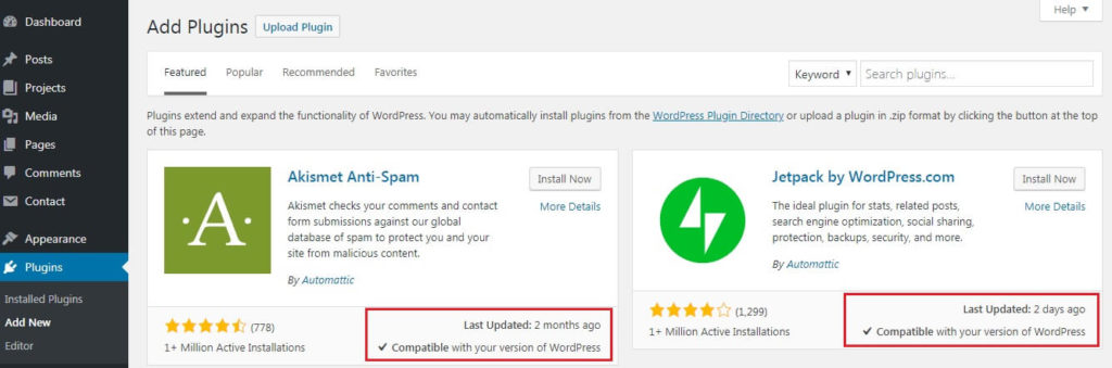 Before adding plugins to WordPress check the last update date
