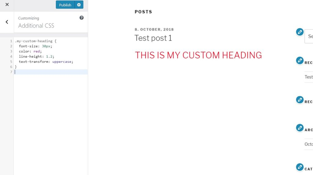 Add CSS styles to your custom classes in WordPress.