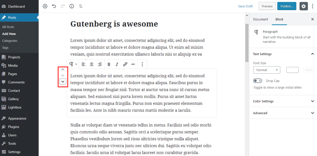 Change the order of blocks in the WordPress Gutenberg editor.