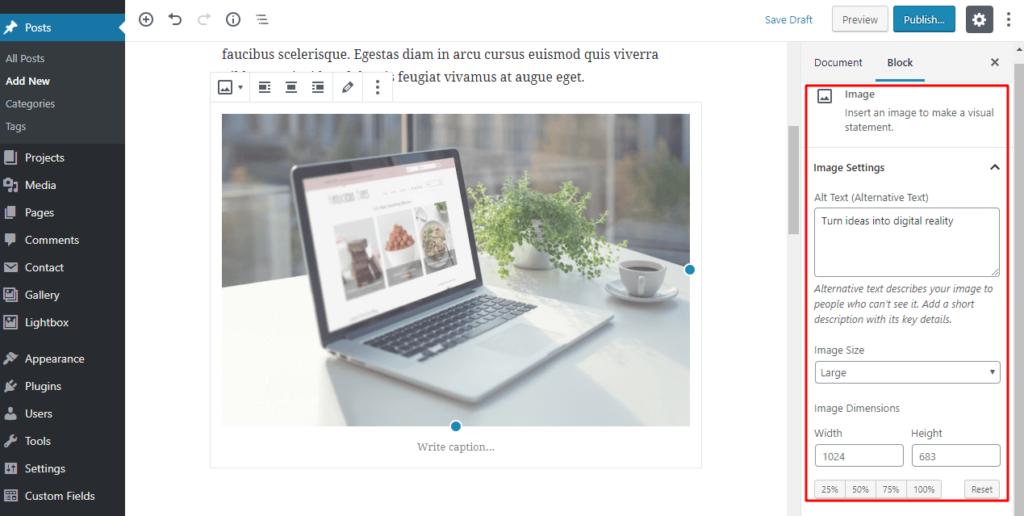 Add an image block in WordPress Gutenberg