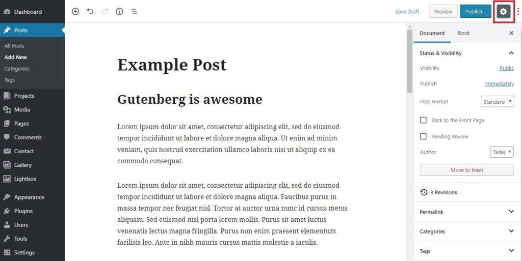 Configure your WordPress Gutenberg editor 1.