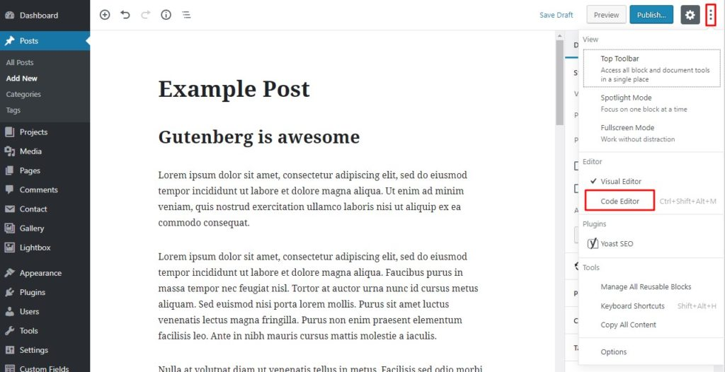 Configure your WordPress Gutenberg editor 2.
