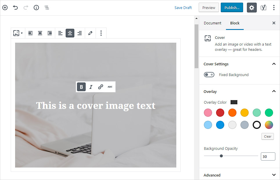 Create a content header or banner by using the Cover block in the WordPress Gutenberg editor.
