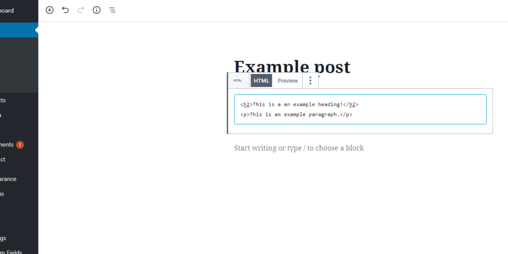 How to write HTML code by using the Custom HTML block in the WordPress Gutenberg editor.