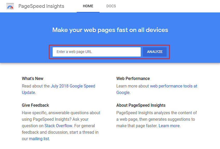 Analyze your website speed with PageSpeed Insights.