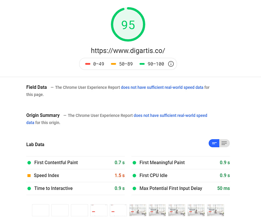 See the overall speed of your website on PageSpeed Insights