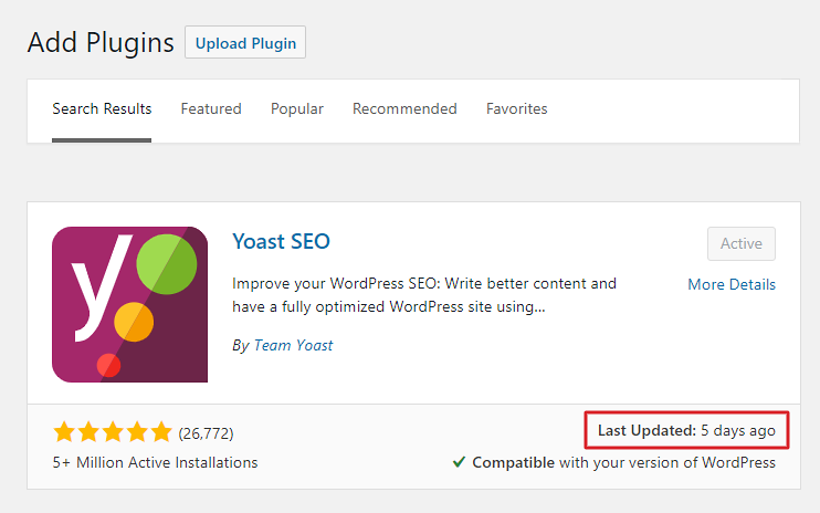 How to find out when was a WordPress plugin last updated in the admin area
