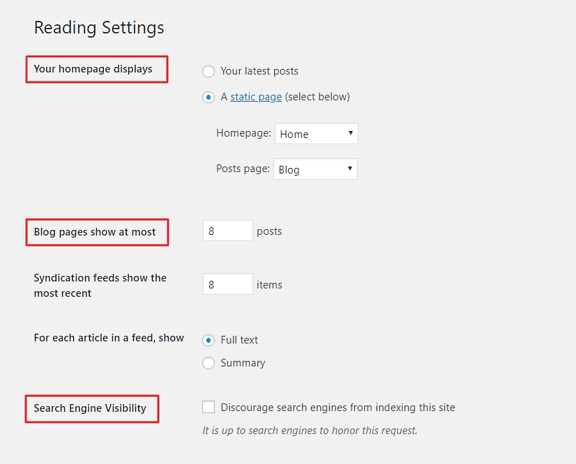 Configure your WordPress Reading settings.