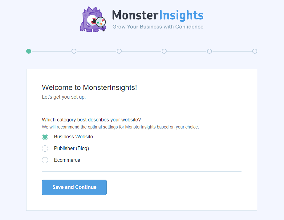 MonsterInsights setup - select the type of the website.