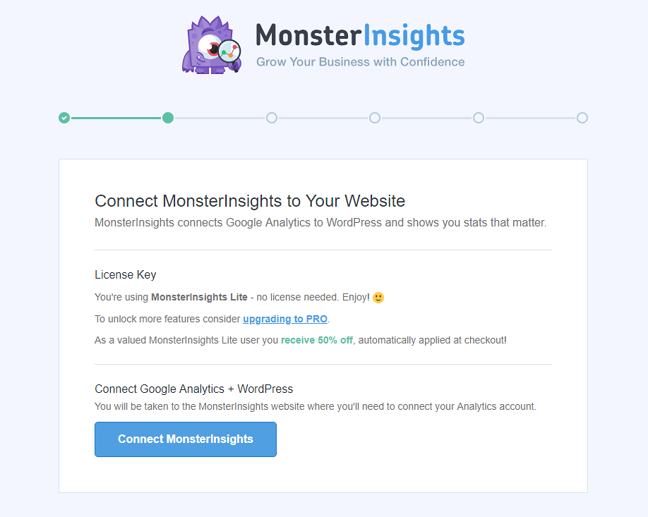 Connect MonsterInsights to your WordPress website.