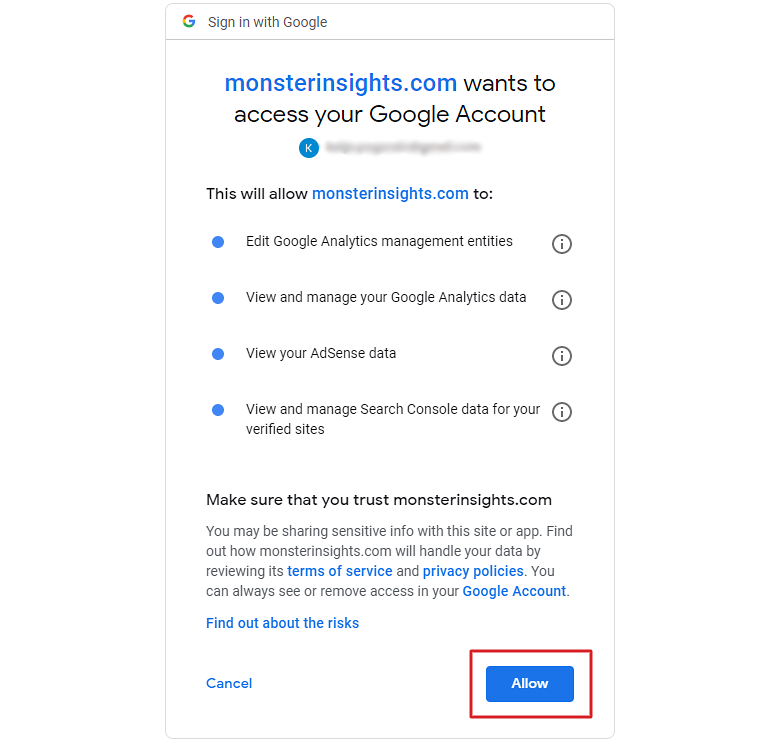 Give MonsterInsights access to your Google Account.