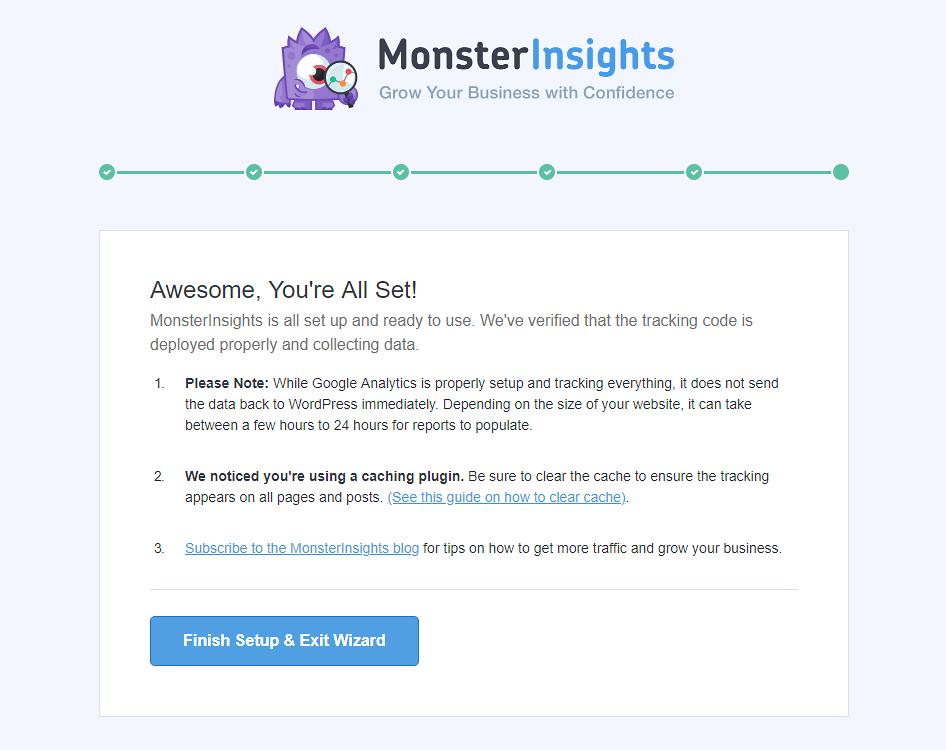 MonsterInsights success screen.