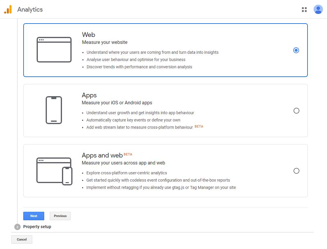 Select the default Web option for WordPress websites.