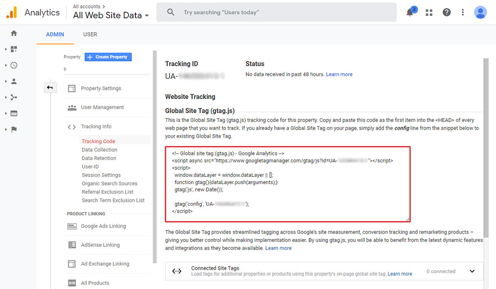 Get your Google Analytics tracking code.