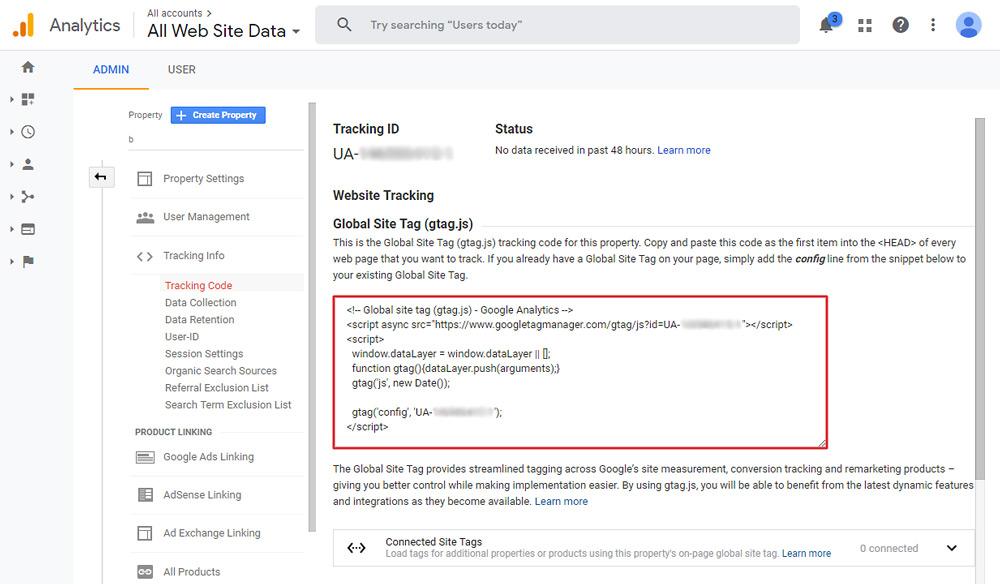 Get your Google Analytics tracking code.