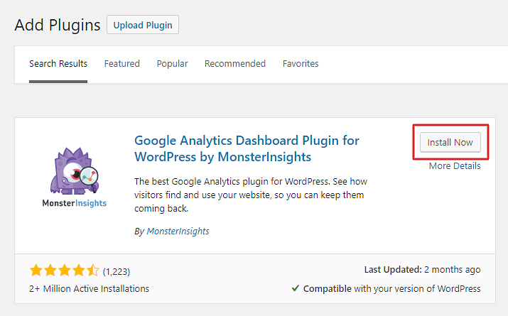 Install and activate the MonsterInsights plugin in the WordPress Admin area.