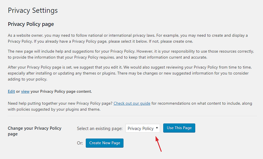 Select a privacy policy page from the dropdown menu.