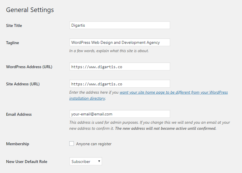 Change your site title and tagline in WordPress General settings.