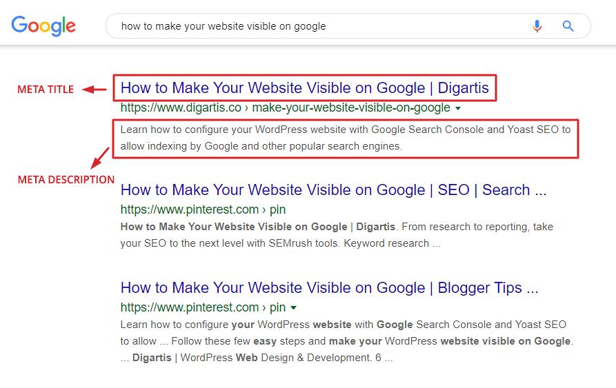 Google search results - meta title and meta description