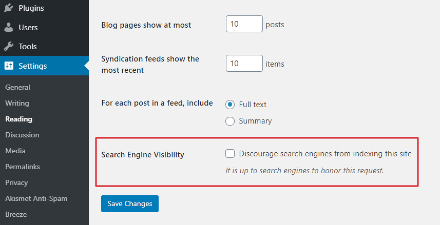 Configure WordPress Search Engine Visibility
