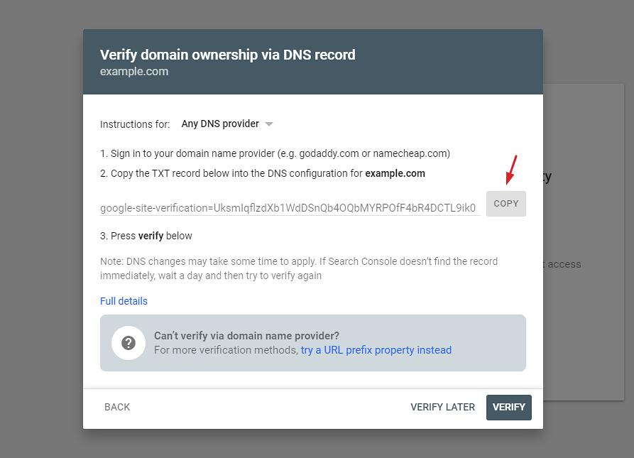 Verify your domain via DNS record