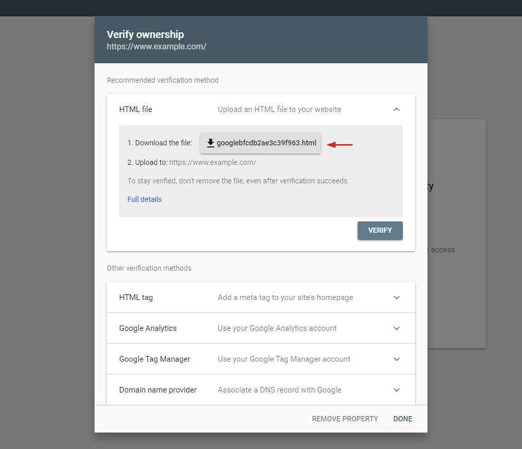 Verify your website in Google Search Console by uploading an HTML file