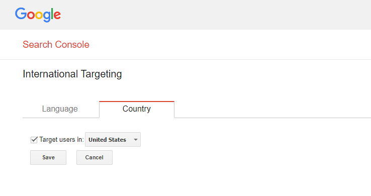 Select your target country on Google Search Console