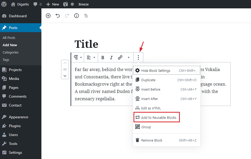 How to make a block reusable in WordPress Gutenberg