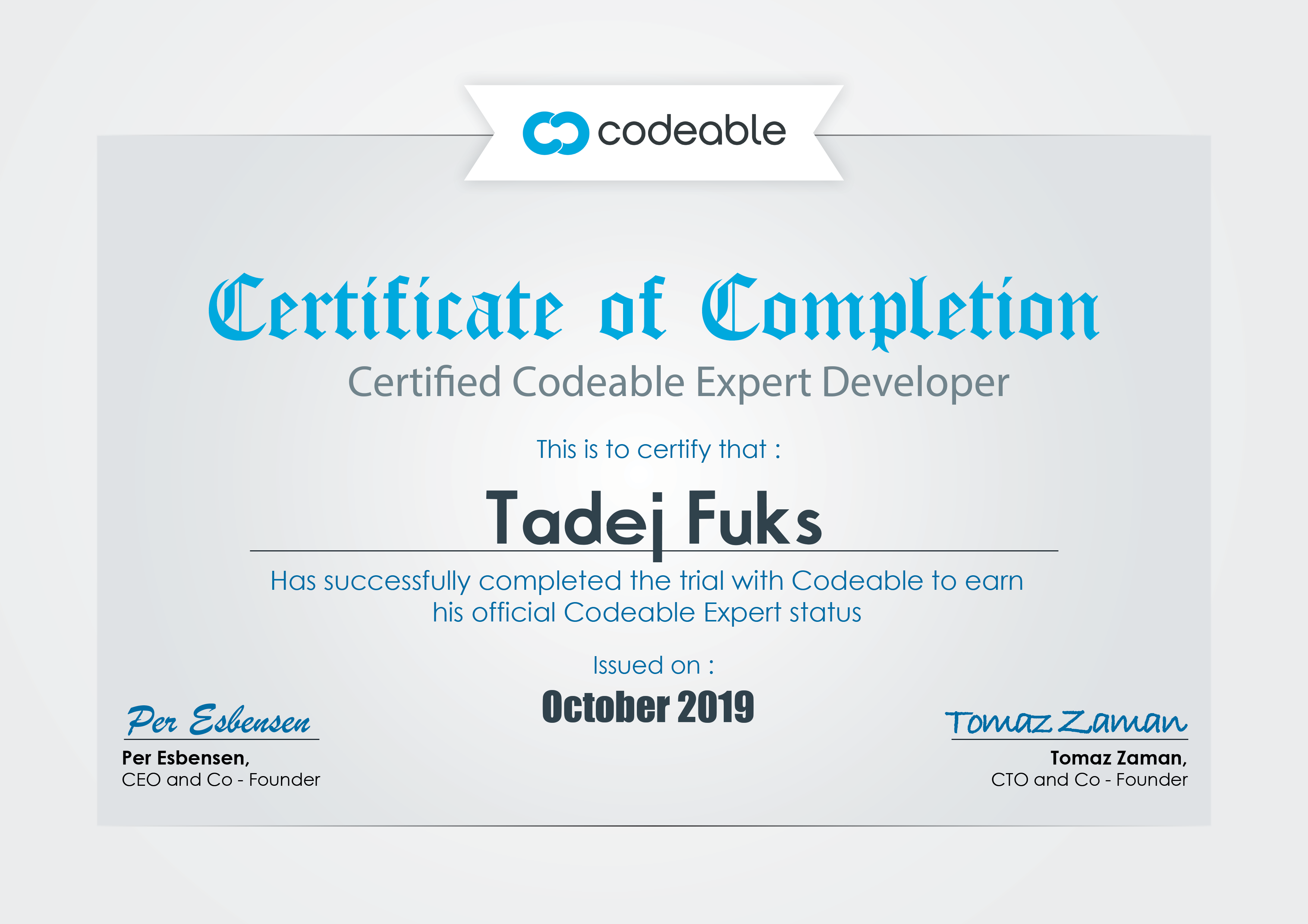 Tadej Fuks Certified Codeable Expert